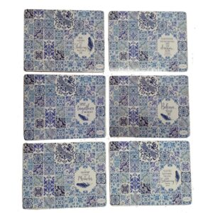 Country Kitchen VINTAGE BLUES Cinnamon Cork Backed Placemats Set 6