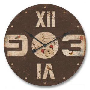 Clock French Country Vintage Inspired Wall 60cm Brown Butterfly MDF