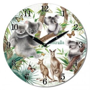 French Country Wall Clock 29cm Australian Wildlife MDF