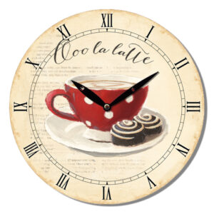French Country Wall Clock 29cm Ooh La Latte Coffee MDF