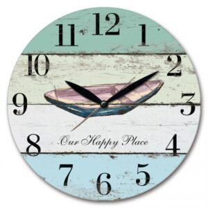 French Country Wall Clock 29cm Boat Our Happy Place MDF