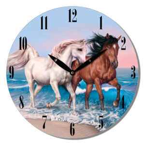 French Country Wall Clock 29cm Horses on Water MDF
