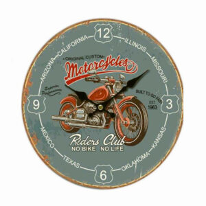 French Country Chic Retro Riders Club Motorbike Wall Clock 34cm MDF