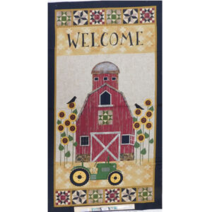 Patchwork Quilting Sewing Fabric Welcome Barn Tractor Panel 60x110cm