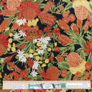 Quilting Patchwork Sewing Fabric Australian Wildflowers 50x55cm FQ Material