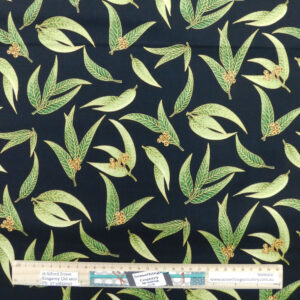 Quilting Patchwork Sewing Fabric Gum Leaves on Black 50x55cm FQ Material