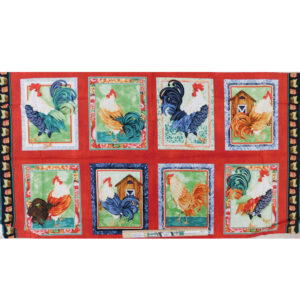 Patchwork Quilting Sewing Fabric Farm Roosters Panel 62x110cm