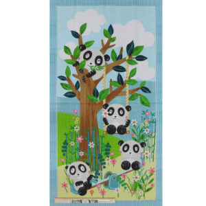 Patchwork Quilting Sewing Fabric Panda Park Panel 60x110cm