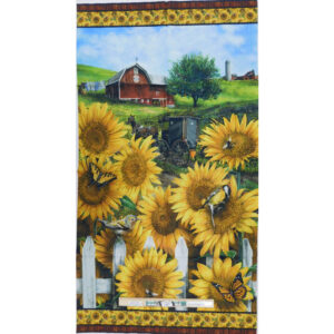 Patchwork Quilting Sewing Fabric Sunflower Farm Panel 60x110cm