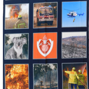 Patchwork Quilting Sewing Fabric Bush Fire Heroes 9 Pics Panel 51x55cm