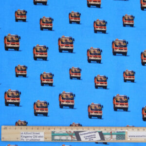 Quilting Patchwork Sewing Fabric Bush Fire Trucks Blue 50x55cm FQ Material