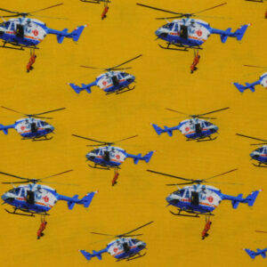 Quilting Patchwork Sewing Fabric Bush Fire Helicopters 50x55cm FQ Material