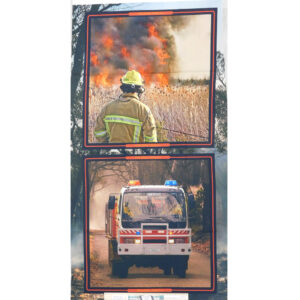 Patchwork Quilting Sewing Fabric Bush Firefighter Truck Panel 59x110cm