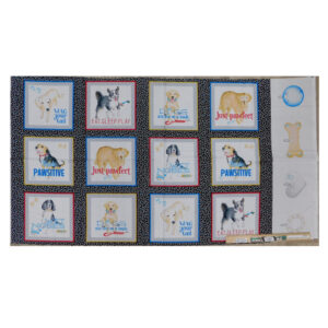 Patchwork Quilting Sewing Fabric Pawsitive Dogs Panel 60x110cm
