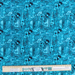 Patchwork Quilting Sewing Fabric Teal Music Instruments 50x55cm FQ Material