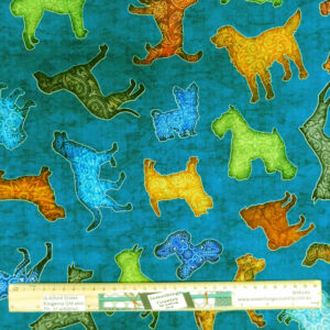 Quilting Patchwork Sewing Fabric Dans Dogs 50x55cm FQ Material
