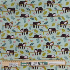 Quilting Patchwork Sewing Fabric Lazy Sloths 50x55cm FQ Material