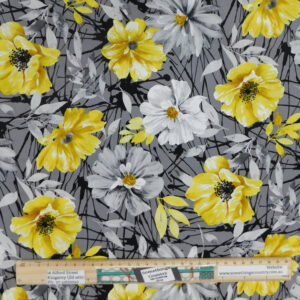 Quilting Patchwork Sewing Fabric Yellow Flowers on Grey 50x55cm FQ Material