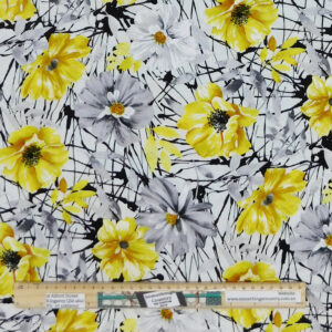 Quilting Patchwork Sewing Fabric Yellow Flowers on White 50x55cm FQ Material