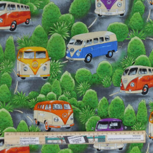 Quilting Patchwork Sewing Fabric On Tour VW Kombi 50x55cm FQ Material