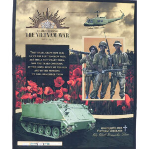 Patchwork Quilting Sewing Fabric ANZAC Remembering Vietnam Panel 89x110cm