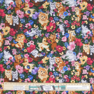 Quilting Patchwork Sewing Fabric Kittens in Flowers 50x55cm FQ Material