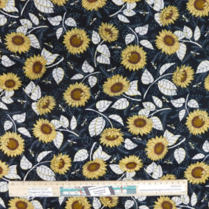Quilting Patchwork Sewing Fabric Bee Grateful Sunflowers 50x55cm FQ Material
