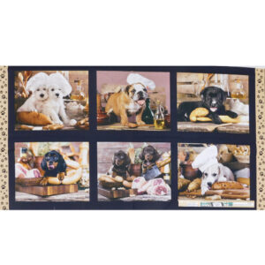 Patchwork Quilting Sewing Fabric Kitchen Dogs Panel 62x110cm