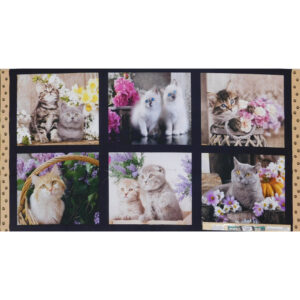 Patchwork Quilting Sewing Fabric Cute Kittens Panel 62x110cm