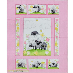 Patchwork Quilting Sewing Fabric Lal the Lamb Sheep Panel 90x110cm