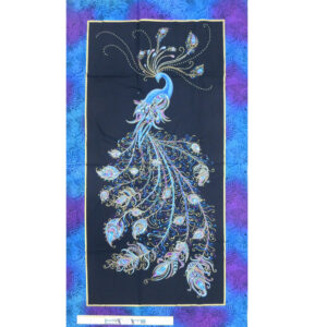 Patchwork Quilting Sewing Fabric Peacock Flourish Panel 62x110cm