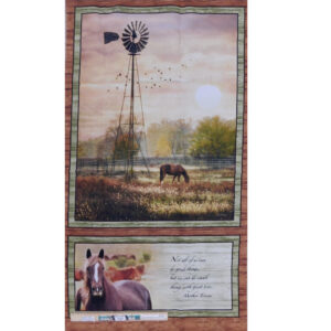 Patchwork Quilting Sewing Fabric Windmill Horses Panel 60x110cm