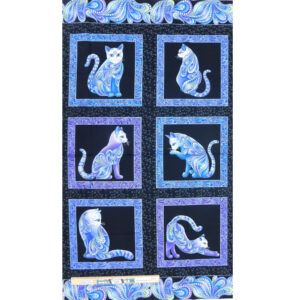 Patchwork Quilting Sewing Fabric Catitude Blues Panel 61x110cm