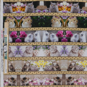 Patchwork Quilting Fabric Cute Kittens Border Panel 53x110cm