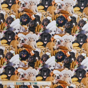 Quilting Patchwork Sewing Fabric Kitchen Dogs 50x55cm FQ Material