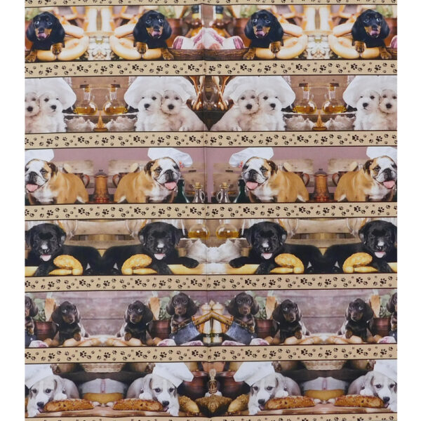 Patchwork Quilting Fabric Kitchen Dogs Border Panel 53x110cm