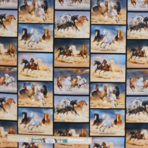 Quilting Patchwork Sewing Fabric Runaway Brumbies Collage 50x55cm FQ