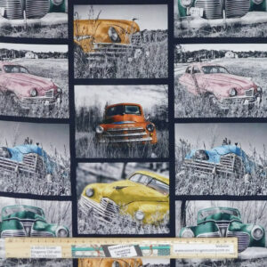 Quilting Patchwork Sewing Fabric Rustic Relics Collage Cars 50x55cm FQ