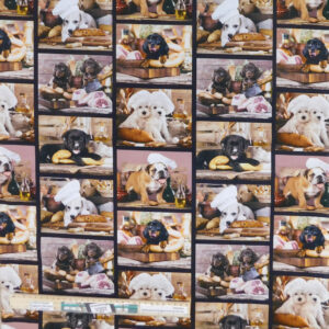 Quilting Patchwork Sewing Fabric Kitchen Dogs Collage 50x55cm FQ