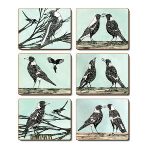 Country Kitchen MAGPIE SONG Cinnamon Cork Backed Placemats Set 6