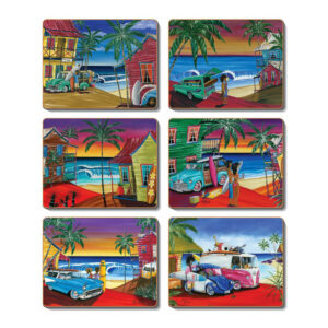 Country Kitchen WISH YOU WERE HERE Cinnamon Cork Backed Coasters Set 6
