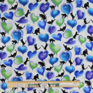 Quilting Patchwork Sewing Fabric Catitude Blues Cats and Hearts 50x55cm FQ