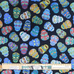 Quilting Patchwork Sewing Fabric Sugar Skulls Material 50x55cm FQ