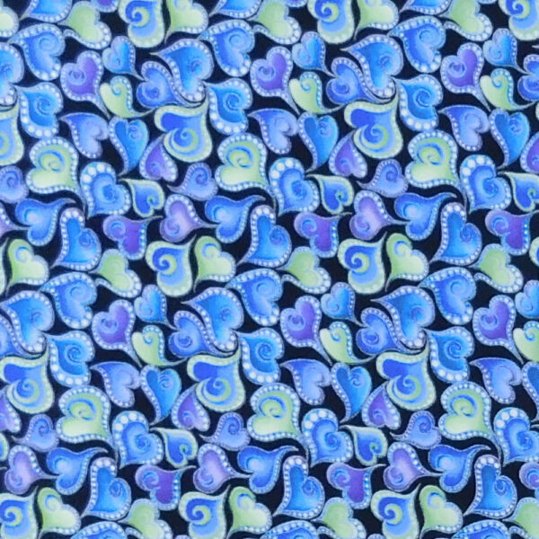 Quilting Patchwork Sewing Fabric Catitude Blues Hearts Allover 50x55cm FQ