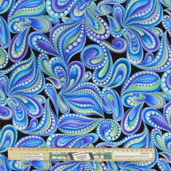 Quilting Patchwork Sewing Fabric Catitude Blues Swirls 50x55cm FQ Material