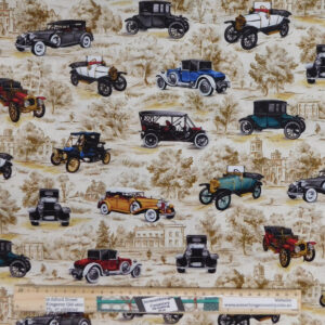 Quilting Patchwork Sewing Fabric Vintage Cars Material 50x55cm FQ