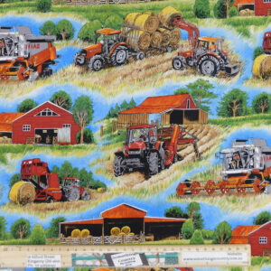 Quilting Patchwork Sewing Fabric Red Tractor Harvesters Material 50x55cm FQ