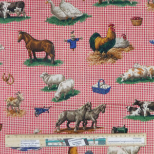 Quilting Patchwork Sewing Fabric Red Check Farm Material 50x55cm FQ