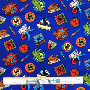 Quilting Patchwork Sewing Fabric Blue Dinosaurs Material 50x55cm FQ