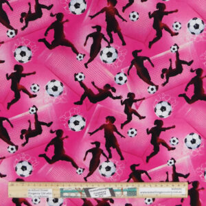 Quilting Patchwork Sewing Fabric Pink Soccer Football Material 50x55cm FQ